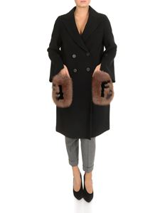 Fendi - Black coat with fur pockets