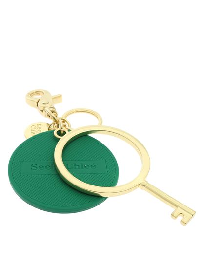 See by Chloé - Jey Rubber keychain in green and gold