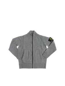 Stone Island Junior - Grey knitted cardigan with logo