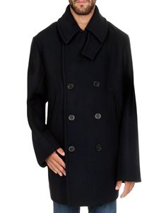 Jil Sander - Coat in dark blue with stormflap