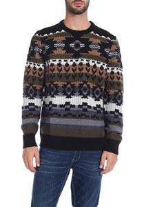 Paolo Pecora - Black jacquard pullover with multicolor pattern