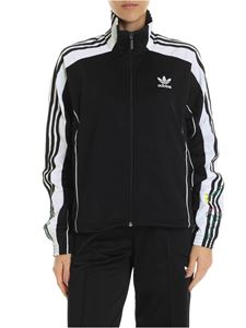 Adidas - Black Tracktop sweatshirt with Fower embroidery