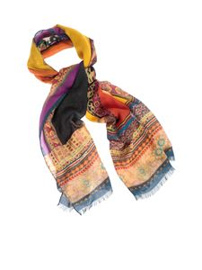 Etro - Geometric Paisley and animal print scarf