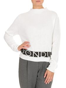 Dondup - White pullover with logo intarsia