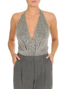 Dondup - Deep V-neck bodysuit in silver sequins