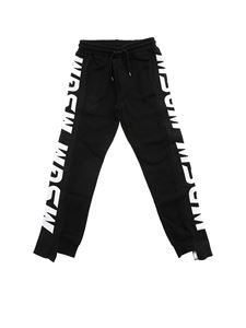 MSGM - Black trousers with branded bands