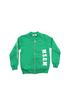 MSGM - Green sweatshirt with logo prints