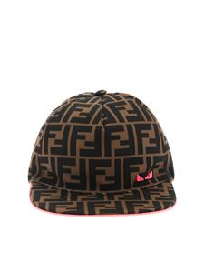 Fendi Jr - Cappello marrone con logo FF nero