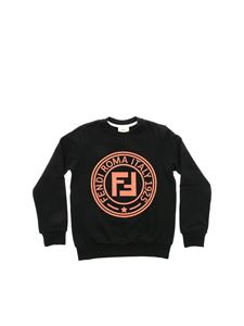 Fendi Jr - Black sweatshirt with pink Fendi Stamp logo