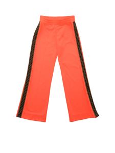 Fendi Jr - Neon coral pink track pants with FF logo ribbon