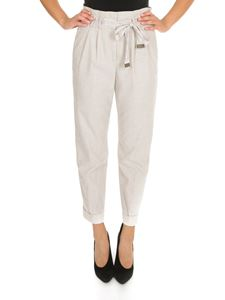 Peserico - Pantaloni beige con coulisse