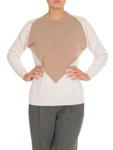 Peserico - Wool blend pullover in white and beige