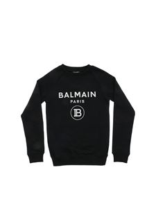 Balmain - Black sweatshirt with glitter logo print