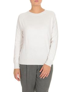 Peserico - White pullover with micro-rhinestones on the sleeve