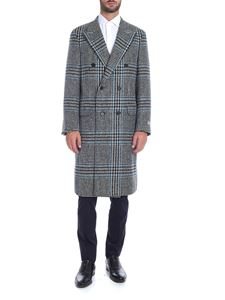 Canali - Checkered coat in black gray and turquoise