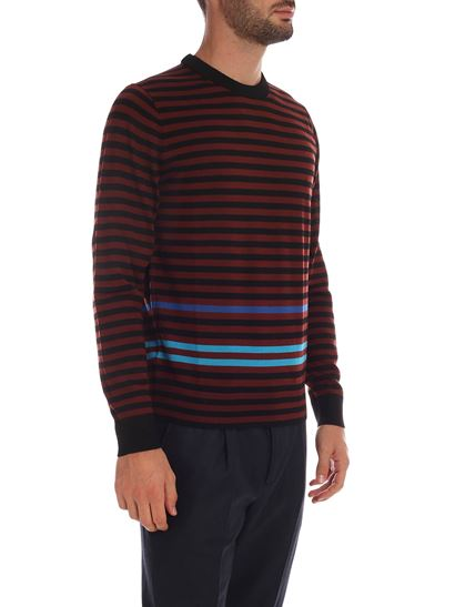 PS by Paul Smith - Pullover nero e bordeaux a righe con logo