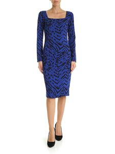 Blumarine - Animal print dress in electric blue