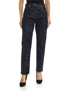 Blumarine - Animal print blue jeans