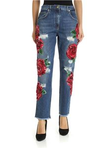 Blumarine - Rose embroidered blue jeans