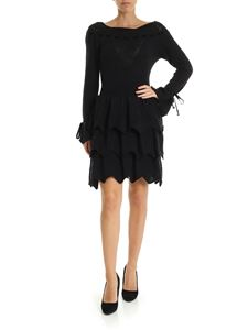 Blumarine - Knit dress with flounced skirt in black