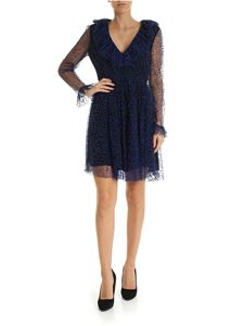 Blumarine - Black dress in electric blue plumetis