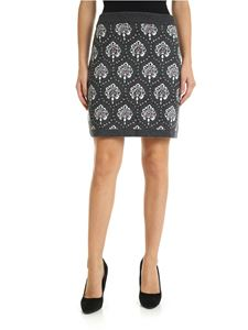 be Blumarine - Grey jacquard knitted skirt