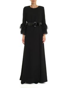 Parosh - Dress in black cady with ostrich feather detail