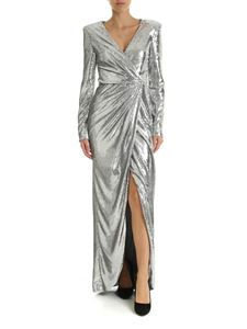 Parosh - Sequined long dress in silver color