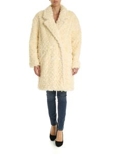 be Blumarine - Double-breasted eco-fur jacket in cream color