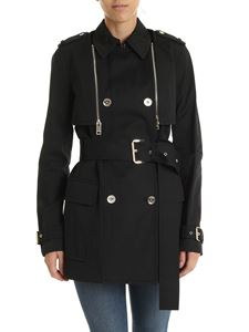 Michael Kors - Black slim fit double-breasted trench coat