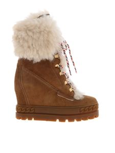 Casadei - Ankle boots in camel color with fur inserts