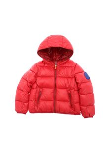 Save the duck - Down jacket in red with electric blue patch