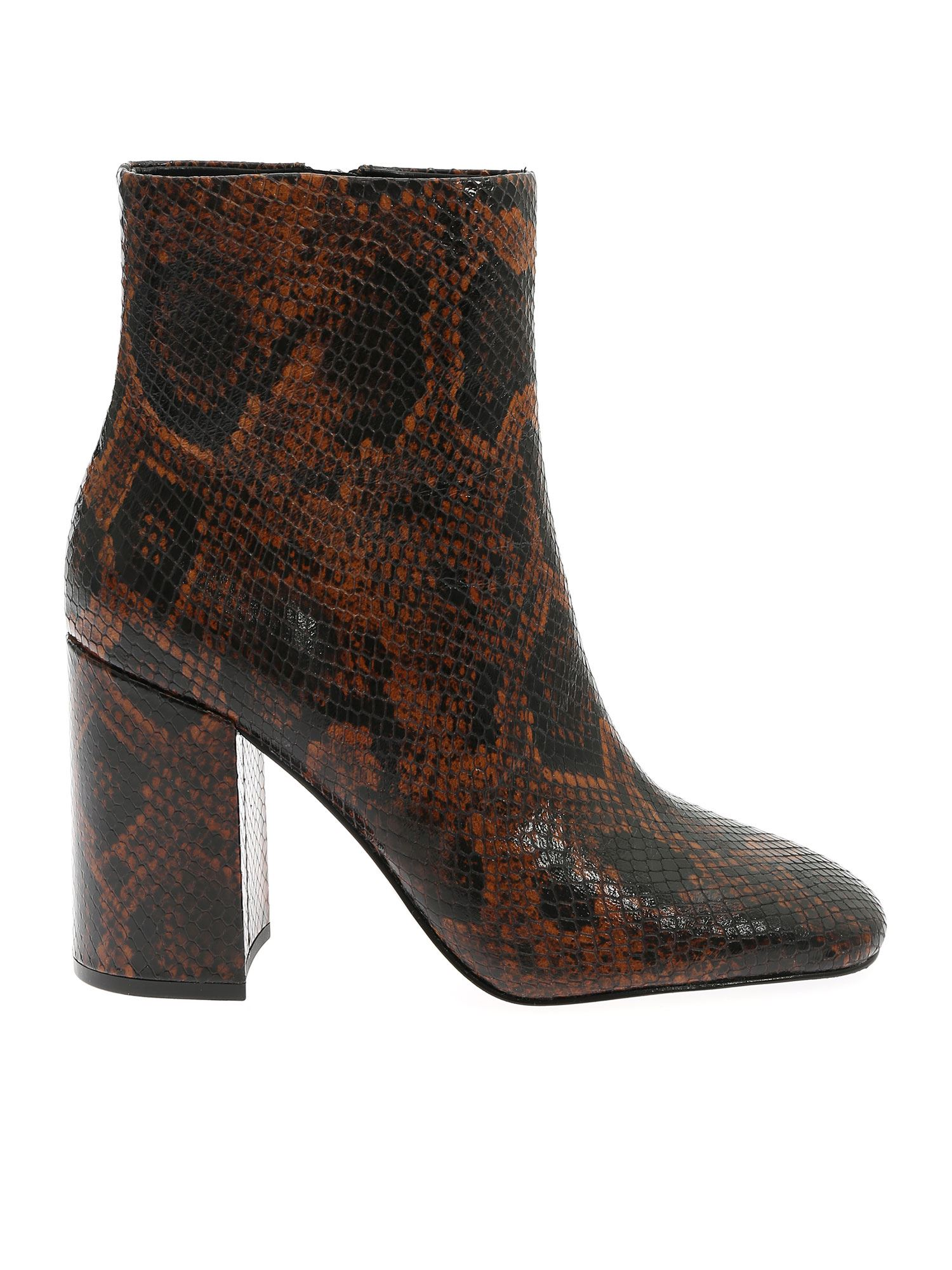 Ash Jade Python-embossed Leather Ankle Boots In Animal Print