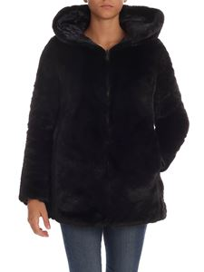 Save the duck - Eco fur with hood in black