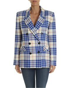 Giada Benincasa - Ivory colored jacket with blue checkered pattern