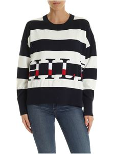 Tommy Hilfiger - Oversize striped pullover in blue and white