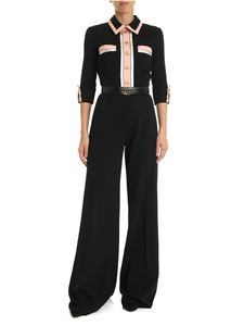 Elisabetta Franchi - Black and pink jumpsuit with belt