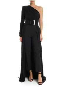 Elisabetta Franchi - Black pleated cupro dress