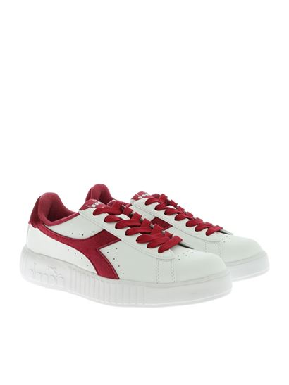 Diadora - Game Step Smooth sneakers in white and burgundy