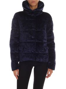 Save the duck - Blue velvet down jacket with logo