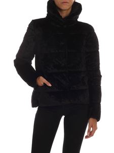 Save the duck - Black velvet down jacket with logo