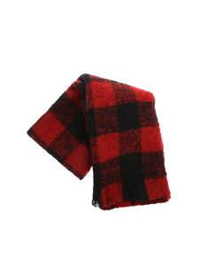 Woolrich - Red and black bouclé scarf