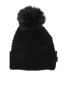 Woolrich - Black beanie with fur pom pon