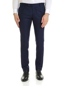 L.B.M. 1911 - Slim fit trousers in blue wool