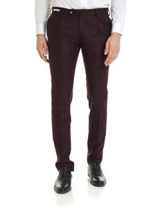 L.B.M. 1911 - Slim fit trousers in plum color wool