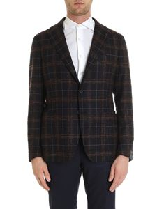 Tagliatore - Dark blue single-breasted jacket with checked pattern