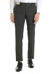 Incotex - Slim fit trousers in green with micro-pattern
