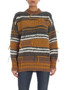 M Missoni - Grey and ocher pullover with fringed details