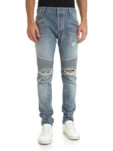 Balmain - Detsroyed effect jeans in light blue color