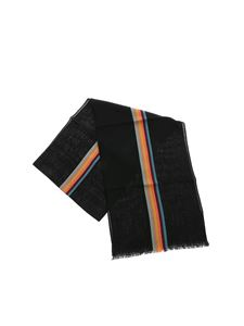 Paul Smith - Black wool blend scarf with striped logo